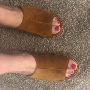 Sam Edelman luggage brown suede slide wedges - 9